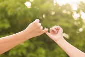 Mother and daughter making a pinkie promise on nature background poster