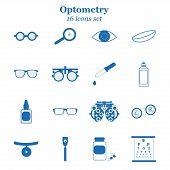 Vector blue optometry 16 icon set. Optician, ophtalmology, vision correction, eye test, eye care, eye diagnostic. Optical set poster