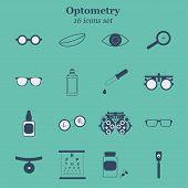 Vector black optometry 16 icon set. Optician, ophtalmology, vision correction, eye test, eye care, eye diagnostic. Optical set poster