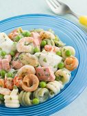 Seafood Pasta Spirals with Peas and Herbs poster