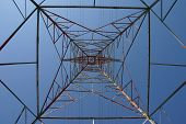 electrical tower looking up into blue sky poster