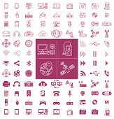 Gadgets and Technology Line and Flat Vector Icon Pack poster