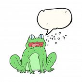 freehand drawn speech bubble cartoon burping frog poster