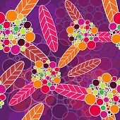 Lilac flowers vector texture with bright leafs poster