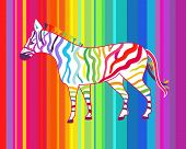 Bright vector illustration with zebra and spectrum stripe poster