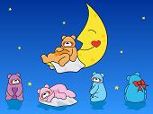 A collection of cute sleepy bears and a moon. poster