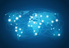 Global network connection. World map and network connection concept.