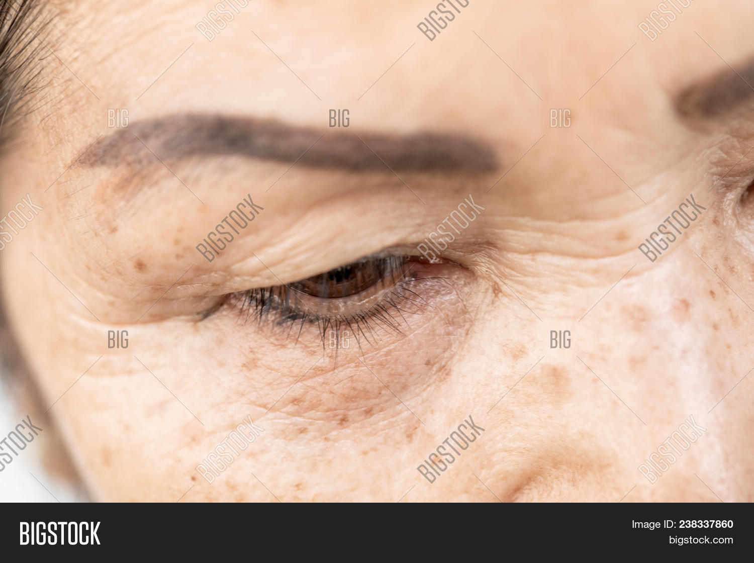 9feabcbc44b Wrinkled And Lines Of Old Asian Woman Eyelid Skin Texture In Closeup  Selective Focus