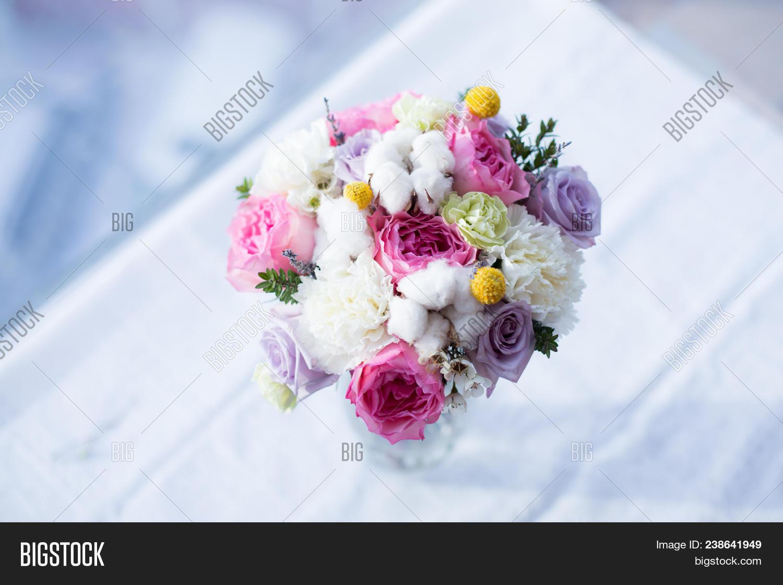Amazing bridal bouquet image photo free trial bigstock amazing bridal bouquet made of pink mayra garden roses white carnations cotton flowers izmirmasajfo
