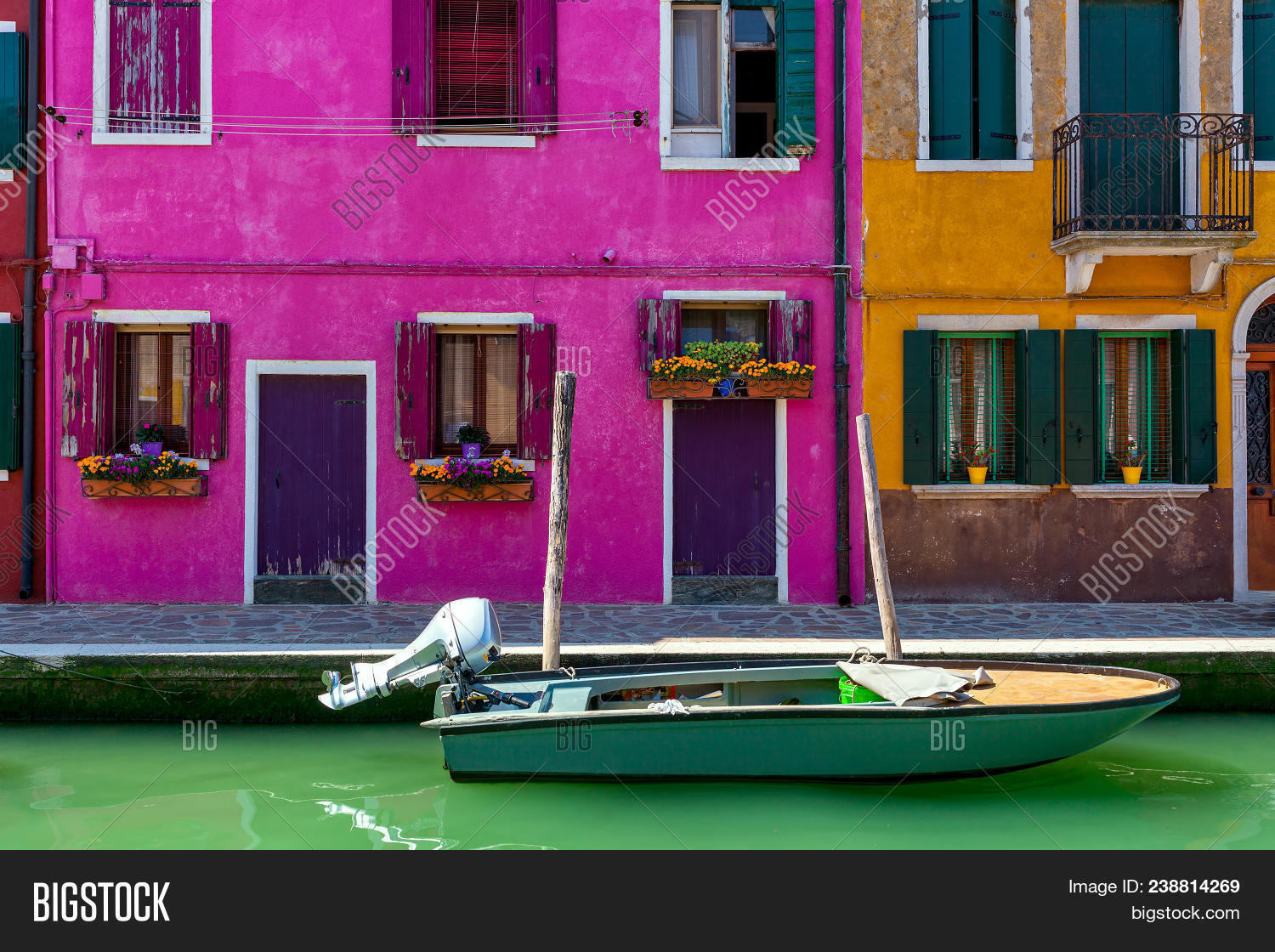 Boat On Narrow Canal Front Colorful Image & Photo | Bigstock