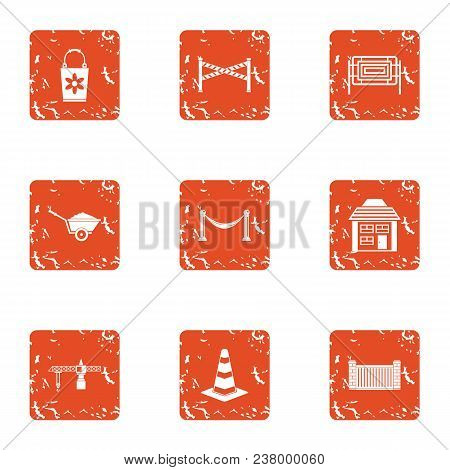 Repair Yard Icons Set. Grunge Set Of 9 Repair Yard Vector Icons For Web Isolated On White Background