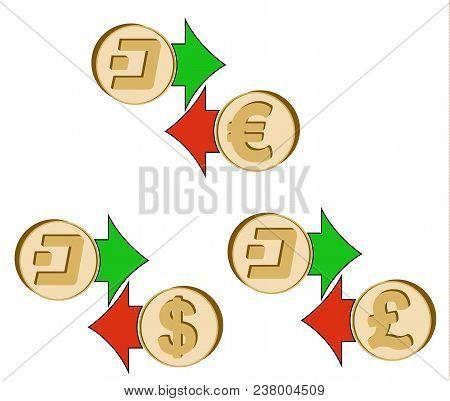 Exchange Dash To Dollar , Euro And British Pound , Coins Of Dash And Dollar, Euro And British Pound