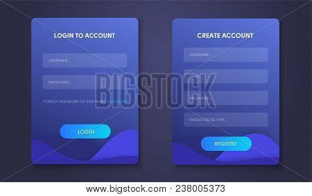 Login Form Page. Web Form Set Creat Account
