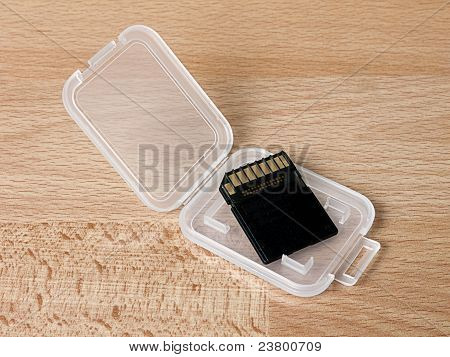Sdhc Memory Card In Plastic Container On Desk