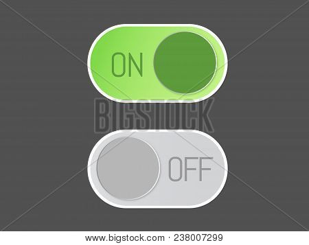 Flat Vector Icon On And Off Toggle Switch Button