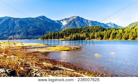 Entrance To Pitt Lake With The Snow Capped Peaks Of The Golden Ears, Tingle Peak And Other Mountain