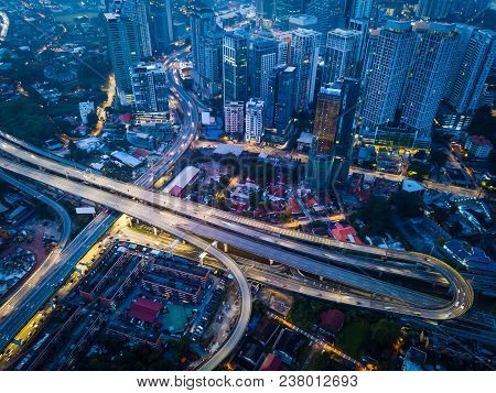 Aerial View Of Beautiful Kuala Lumpur City ,early Morning Scene .