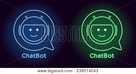 Neon Chat Bot In Blue And Green Color. Vector Illustration Of Virtual Chatbot With Speech Bubble Con