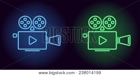 Neon Cinema Projector In Blue And Green Color. Vector Illustration Of Cinema Projector With Play Ico