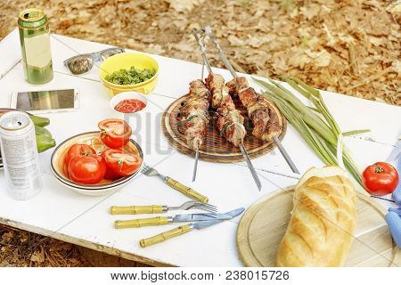 B-b-q. Meat Roasted Grill, Shish Kebab, Vegetables, Greens. Picnic In The Open Air. Food On The Natu