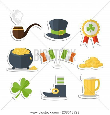Saint Patrick Day Sticker Set With Shadow Isolated On A White Background With Pot , Coin, Beer Mug,