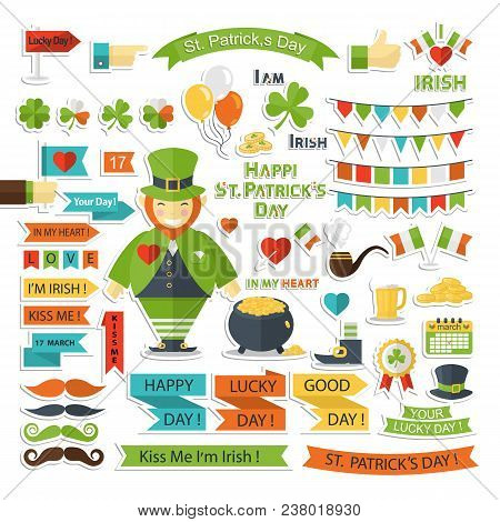 Saint Patrick Day Vector Set With Shadow Isolated On A White Background With Pot , Coin, Beer Mug, H