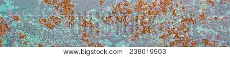 Banner Of Corroded Metal Background. Rusted Painted Metal Wall Corrosion With Streaks Of Rust