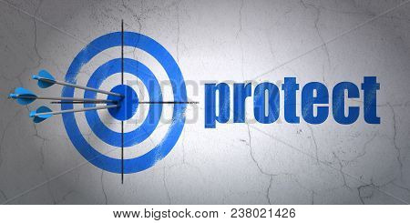 Success Security Concept: Arrows Hitting The Center Of Target, Blue Protect On Wall Background, 3d R