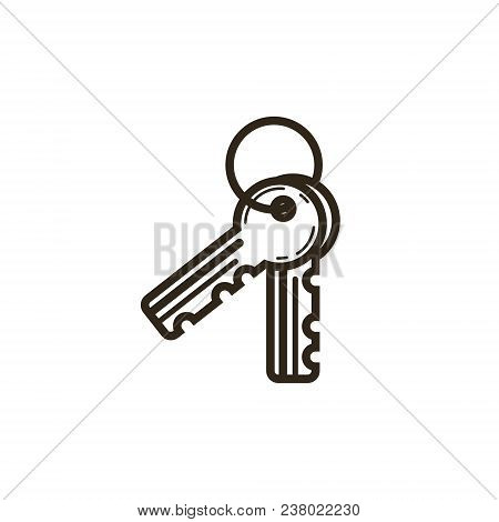 Black And White Linear Icon Of Keys On A Bunch