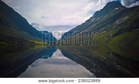 Panorama View To Eidsvatnet Lake Near Skogmo At Nord-trondelag, Norway