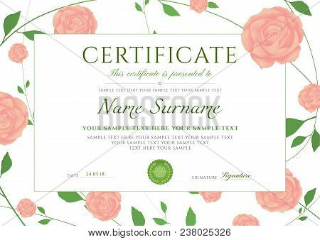 Certificate Of Completion Template With Flowers Roses And Green Floral Pattern Frame (leaves). Desig