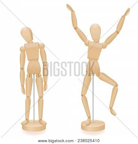 Unhappy And Happy, Sad And Joyful Wooden Lay Figures Body Language In Comparison - Two Mannequins Wi
