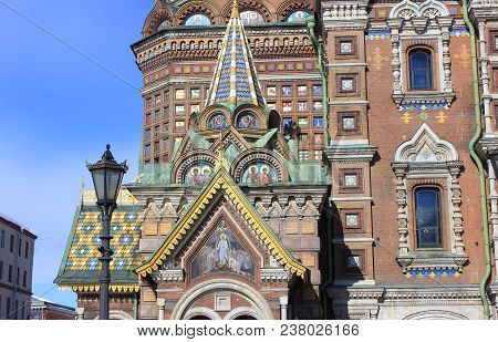 Architecture Of Church Of Our Savior On Spilled Blood In St. Petersburg, Russia. Religious Cathedral