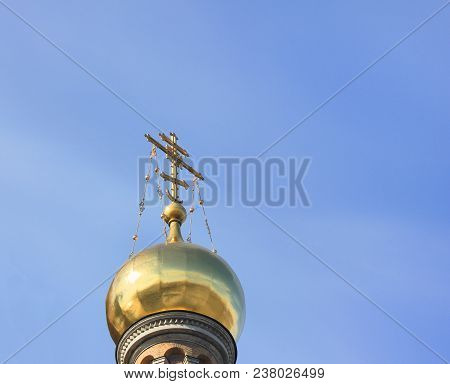 Golden Dome With Cross At Church.  Christian Orthodox Church Architecture Element Isolated On Empty