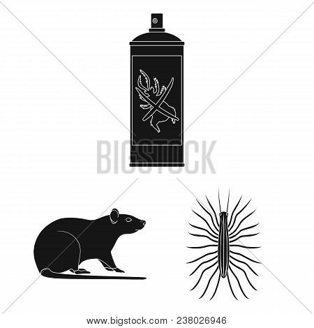 Pest, Poison, Personnel And Equipment Black Icons In Set Collection For Design. Pest Control Service