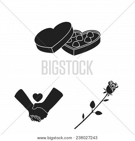 Romantic Relationship Black Icons In Set Collection For Design. Love And Friendship Vector Symbol St