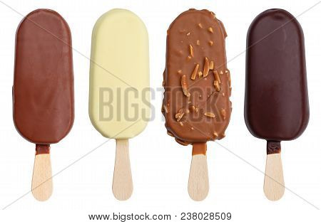 Chocolate Covered Ice Cream Flavor Variety Collection On A Stick Icecream Ice-cream Isolated