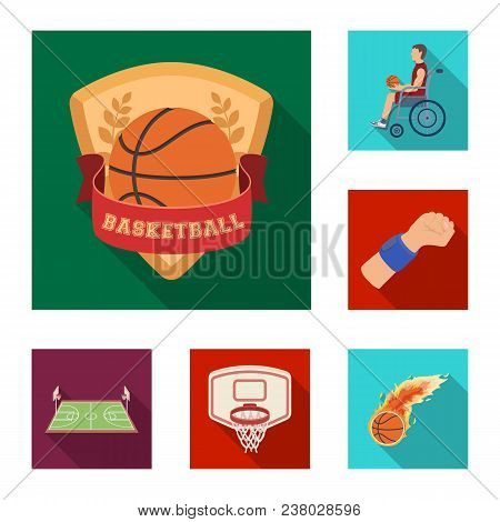 Basketball And Attributes Flat Icons In Set Collection For Design.basketball Player And Equipment Ve