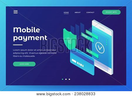 Concepts Mobile Payments, Personal Data Protection. Header For Website With Smartphone And Bank Card