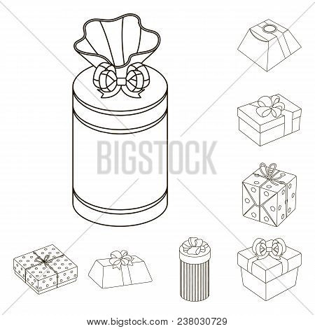 Gift And Packing Outline Icons In Set Collection For Design.colorful Packing Vector Symbol Stock  Il