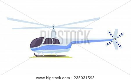 Fast Modern Blue And Gray Helicopter On White Background Vector Illustration. It Is One Of Types Of
