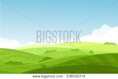 Vector Illustration Of Beautiful Fields Landscape With A Dawn, Green Hills, Bright Color Blue Sky, B