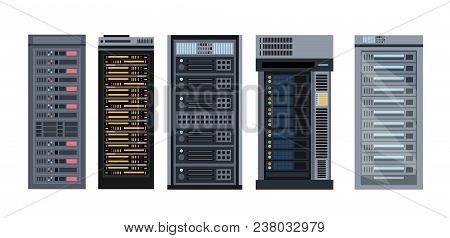 Vector Illustration Set Of Various Cartoon Server Racks, Different Types Of Server Rack Collection O