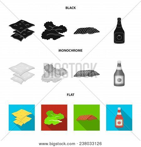 Burger And Ingredients Black, Flat, Monochrome Icons In Set Collection For Design. Burger Cooking Ve