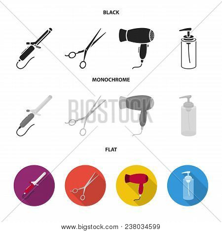 Hairdryer, Hair Dryer, Lotion, Scissors. Hairdresser Set Collection Icons In Black, Flat, Monochrome