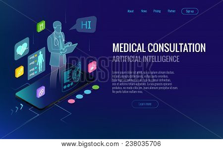 Isometric Healthcare, Diagnostics And Online Medical Consultation App On Smartphone. Digital Health