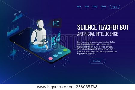 Isometric Science Teacher Bot Concept. Artificial Intelligence, Knowledge Expertise Intelligence Lea