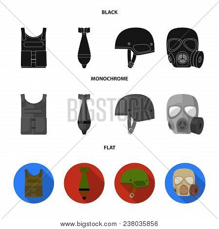 Bullet-proof Vest, Mine, Helmet, Gas Mask. Military And Army Set Collection Icons In Black, Flat, Mo