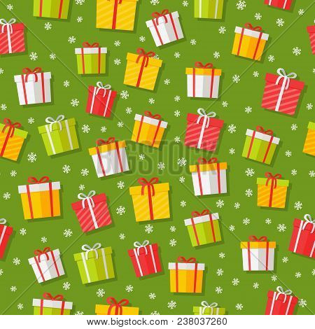Seamless Pattern With Cartoon Giftboxes. Wrapped Boxes With Stripes And Bows Flat Vector On Color Ba