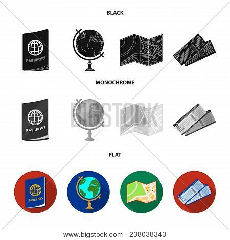 Vacation, Travel, Passport, Globe .rest And Travel Set Collection Icons In Black, Flat, Monochrome S
